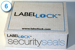 Label Lock dual layer label on box 6